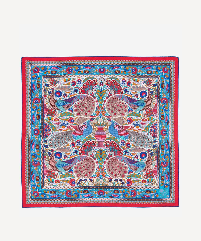 ピーコック ガーデン 70x70 シルク ツイル スカーフ 詳細画像