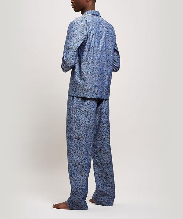 イムラン シャンブレー コットン ロング パジャマ セット 詳細画像
