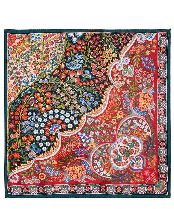 タンジョール ガーデン 45x45 シルク ツイル スカーフ 詳細画像