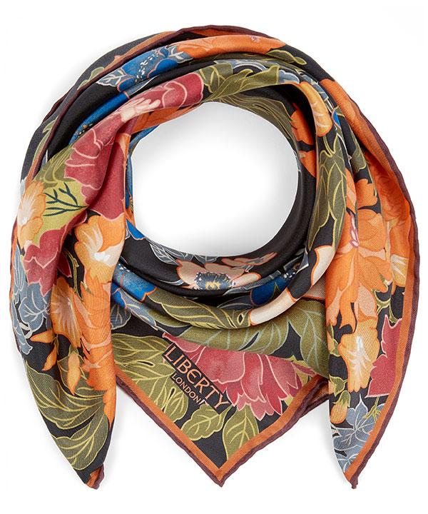 サクラ 70x70 シルク ツイル スカーフ 詳細画像