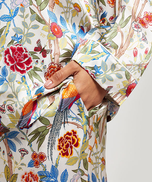 バンブー ガーデン シルク シャルムーズ ロング パジャマ セット 詳細画像