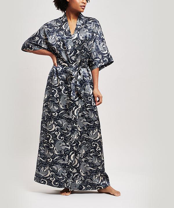 キリエ シルク シャルムーズ ロング キモノ ガウン 詳細画像